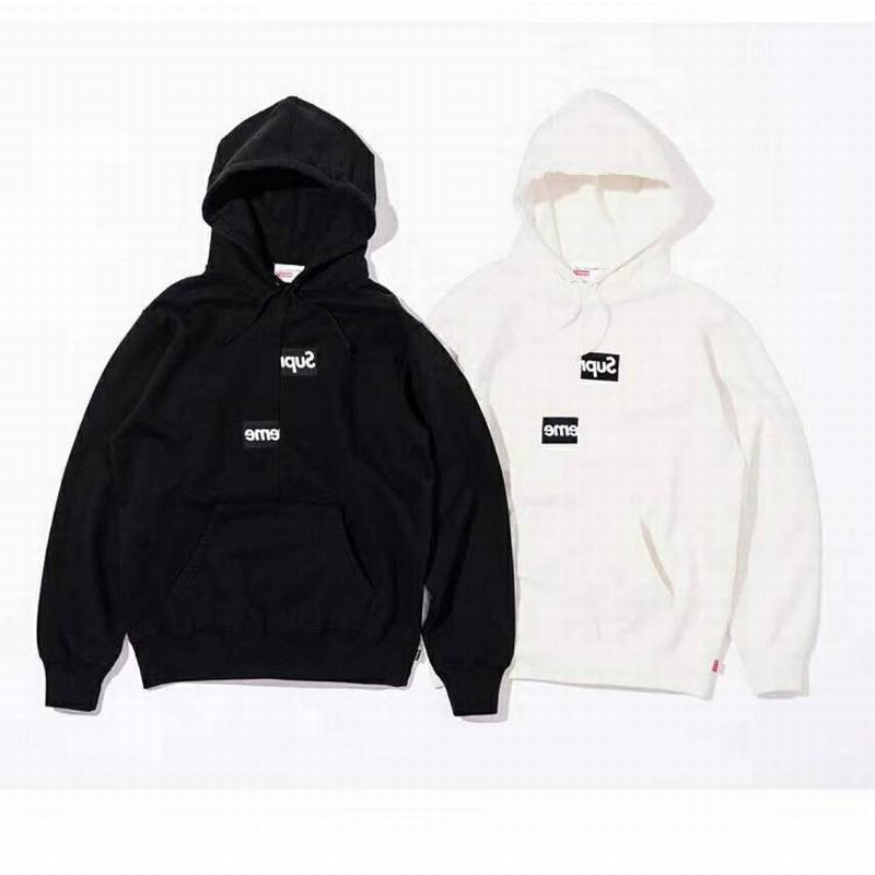 Supreme 18Fw x CDG union 2 colors black white hoodie split box logo