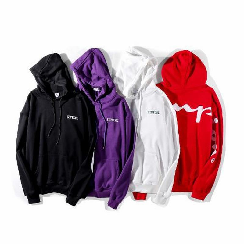 Supreme x Champion 4 colors black purple white red hoodie big logo back