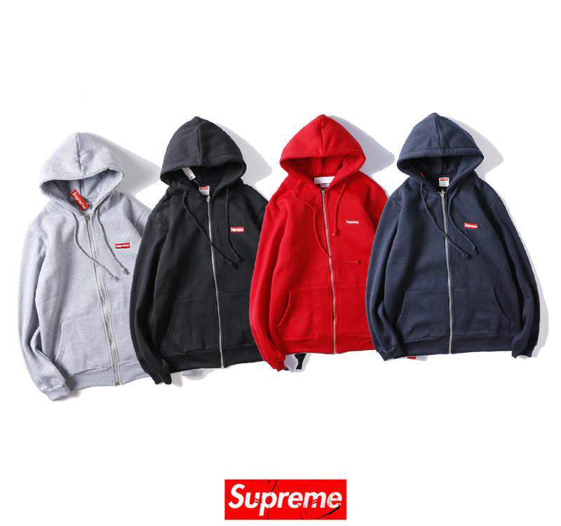 supreme 4 colors grey blue red black hoodie small box logo