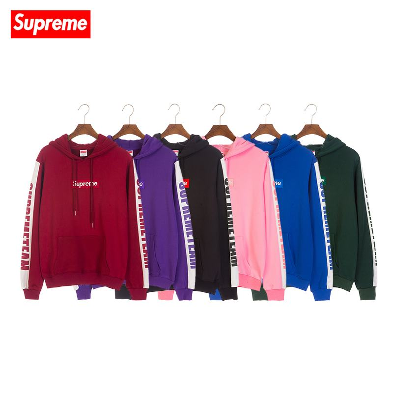 supreme 4 colors red green blue pink coral wool hoodie box logo