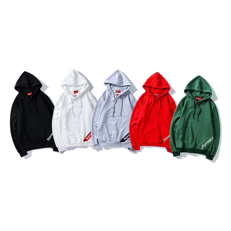 supreme 5 colors black white grey red green hoodie