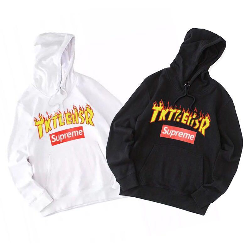 supreme x Thrasher union 2 colors white black hoodie box logo