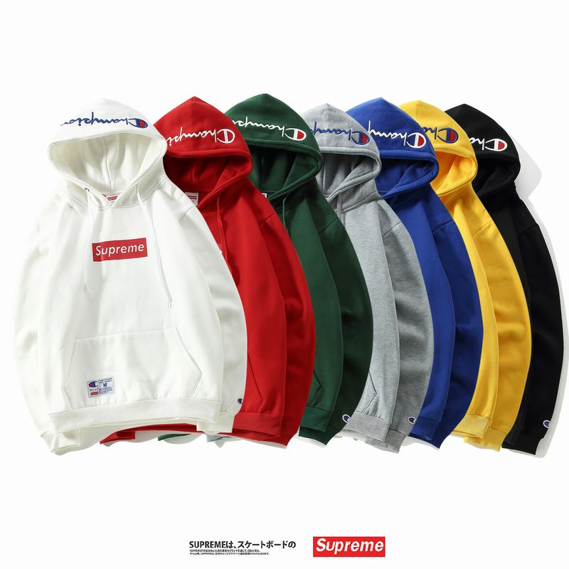 supreme x champion union 7 colors white red green grey blue yellow black embroidery velvet hoodie box logo