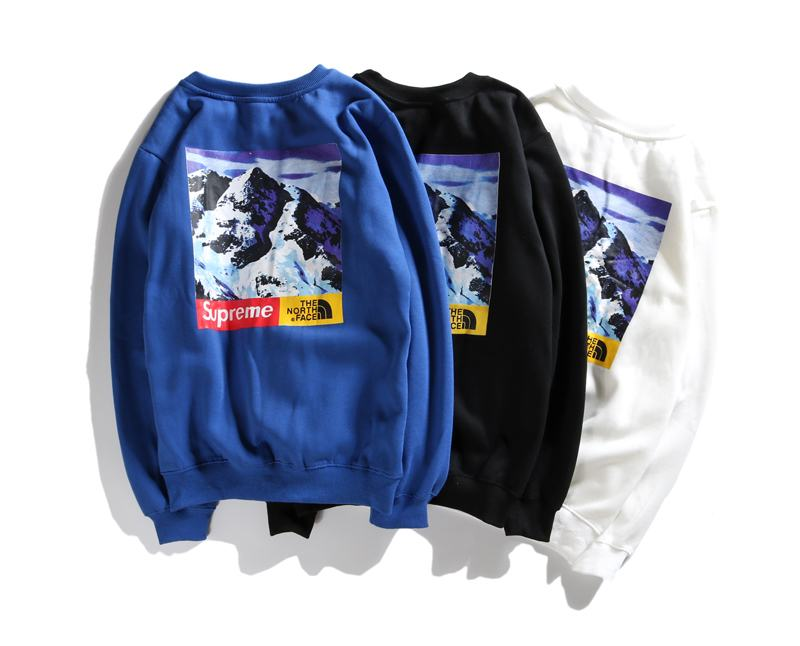 TNF x supreme union 3 colors blue white black long sleeve snow mountain print box logo