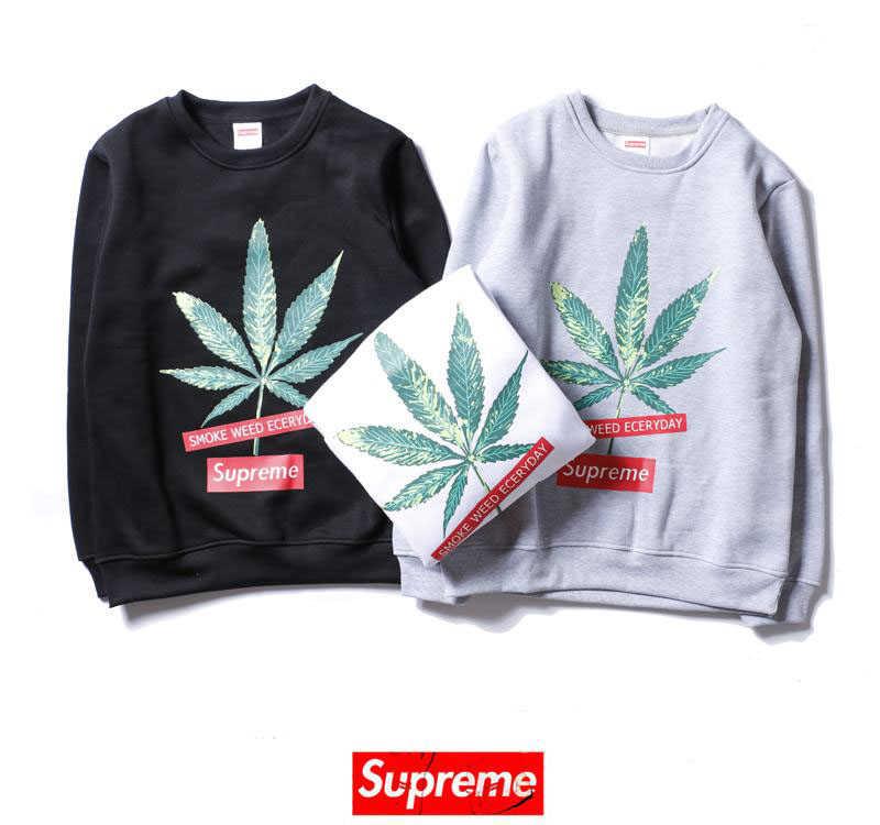 supreme 2 colors black white long sleeve leaf print box logo