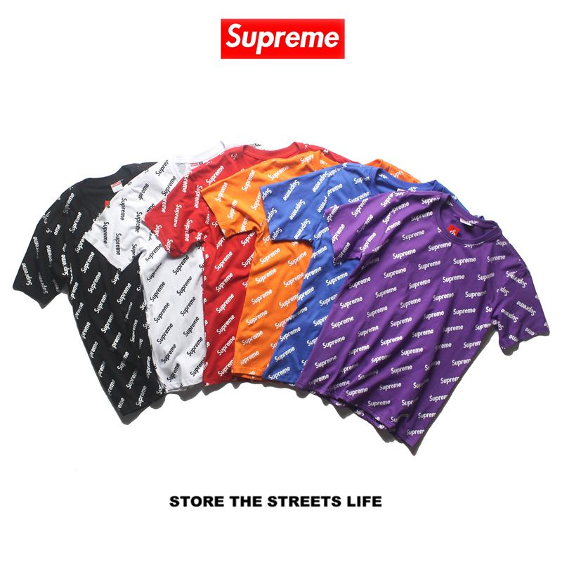 Supreme all logo 5 colors white purple blue orange black t shirt
