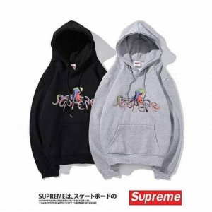 supreme 2 colors black grey velvet hoodie octopus print logo