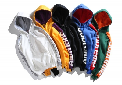 supreme 6 colors white yellow purple blue green black hoodie