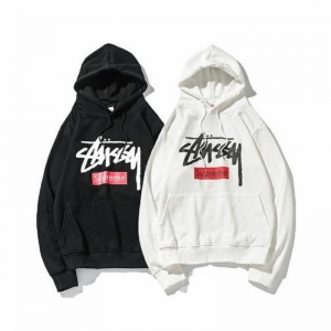 supreme x stussy union 2 colors black white velvet hoodie box logo
