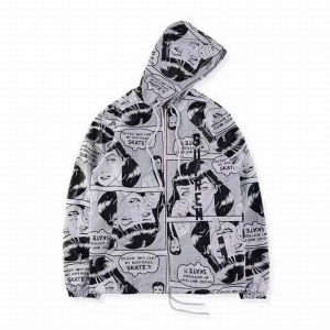 Supreme x Thrasher Boyfriend Jacket union 3 colors grey yellow blue cartoon hoodie