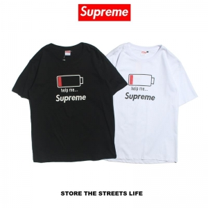 Supreme no power 2 colors white black t shirt